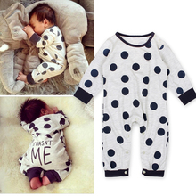2016 Baby Rompers Long Sleeve Cow Dots Unisex Baby Jumpsuits Romper Spring Autumn Baby One Piece Clothing Girl Boy Outfits Brand