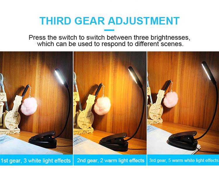 DE.SOUL Third Gear Adjustment Light Source LED Book Light Clip 360 Degree Flexible Charging Book Lamp Travel Beside Reading Lamp (7)