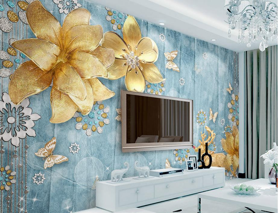 customized 3d wallpaper Luxury gold jewelry with flowers Mediterranean European TV backdrop 3d living room wall mural wallpaper<br><br>Aliexpress