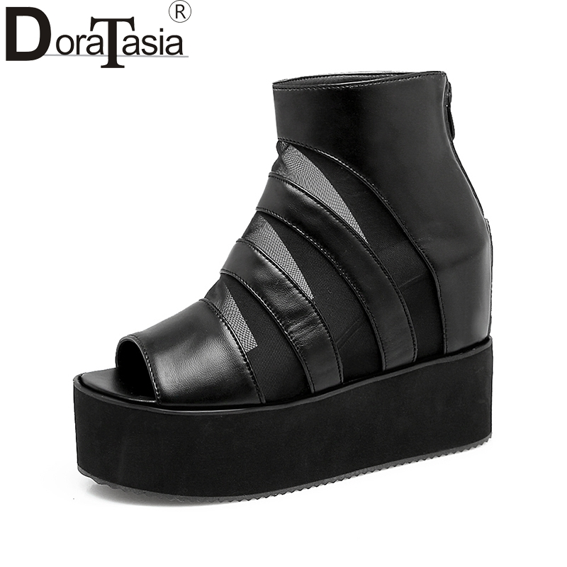 DoraTasia 2018 large size 32-43 Summer brand shoes woman fashion peep toe platform wedge high heels casual sandals womaen shoes<br>