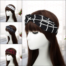 Women plaid Knot Headband Soft Cross Hairband lady Turban Adult Knitted Wide Twisted Hair Accessories Elastic Headwrap