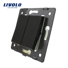 Livolo Black Plastic Materials, EU Standard,2 Gang1 Way Function Key For Wall Push Button Switch C7-K2-12(China)
