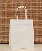 40pcs/lot White Paper Gift Bag With Handles Retail Carrier Bag Wedding Party CH-5012602(China)