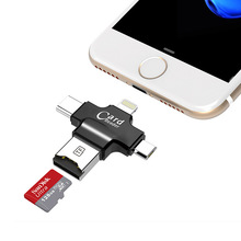 SanDisk micro SD Card 64GB 32GB 16GB 128GB Memory Card + 4 in 1 Type-c/Lightning/Micro USB/USB 2.0 Card Reader for iphone