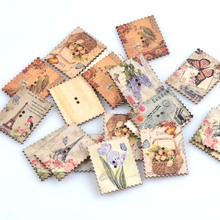 30pcs Wooden Sewing Buttons Eiffel Tower Postage Stamp Pattern Handmade Scrapbooking Craft Cloth Accessories 30x37mm MT0933x