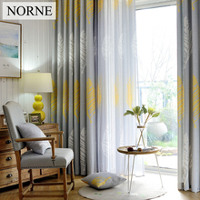 NORNE Modern Printed Window European Country Style Curtain Drapes for Bedroom Living Room Kitchen Door Blinds Sheer Curtains