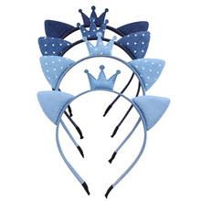 New Fashion Blue Jeans Crown Cat Ears Hairbands Girls Denim Cloth Headbands Kids Hair Accessories Wholesale(China)