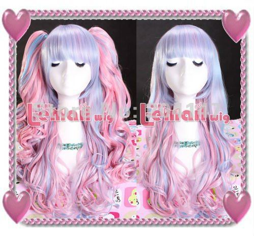 Cheap Womens 55cm Long Wave Blonde Blue Pink Lolita Cosplay Wig With 2 Ponytail<br><br>Aliexpress
