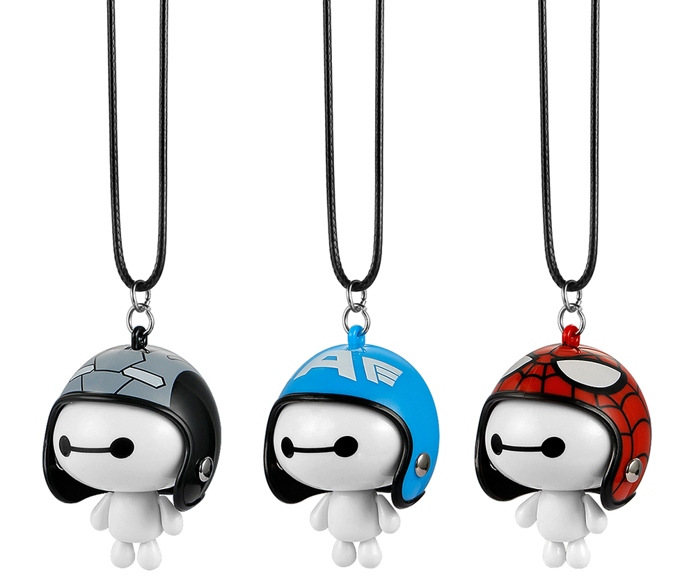Without logo DKD Shop Car Pendant Cute Helmet Baymax Robot Doll Hanging Ornaments Automobiles Rearview Mirror Suspension Decoration Accessories Gifts Color Name : Blue White