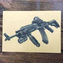 "JGQ-095 home decor kraft paper ""Special Forces machine gun"" for kichen wall sticker movie poster bar cafe wall painting 42x30 cm"