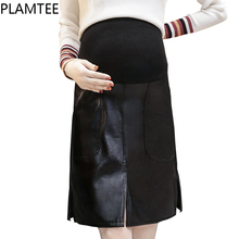 PLAMTEE Black Straight Skirt For Pregnant Women Winter Fashion Clothes For Pregnant PU Leather Knee-Lenght Maternity Skirt(China)