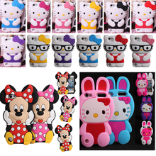 Free shipping For ipod touch 5 6 Cute Cartoon Mickey Mouse Minnie 3D Hello Kitty Rabbit Rubber Silicone Case Cover For touch 6 5