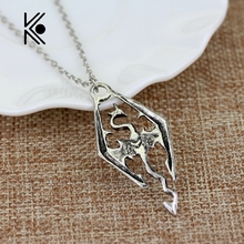 The Dinosaur Pendant Necklace Skyrim Elder Scrolls Dragon Pendants Vintage Necklace for Men/Women Jewelry free shipping