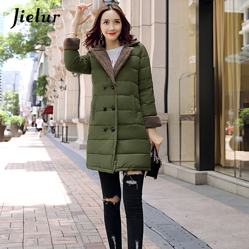 Jielur 2017 Winter Korean Fashion Down Jacket Lamb Collar Winter Parka Women Jackets Patchwork Buttons Pocket Coat Female M-2XLÎäåæäà è àêñåññóàðû<br><br>