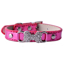 Brand Rhinestone Dog Collar With Bone Shaped Charm Gold Red Pink Leather Collar Necklace Small Teddy Pet Products For Dogs(China)