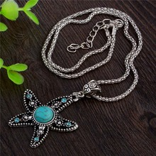 SHUANGR Green Resin Stone Starfish Pendant Necklace Silver Color Crystal Trendy Necklace Jewelry for Women