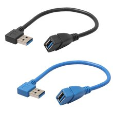 1Pcs USB 3.0 Right Angle 90 Degree Extension Cable Male To Female Adapter Cord USB Cables Best Quality