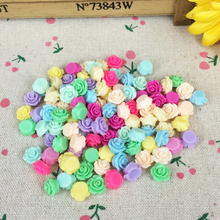 Mixed Colors 100Pieces Flat Back Resin Flower Cabochon DIY Flatback Embellishment Accessories Scrapbooking Decoration:10mm
