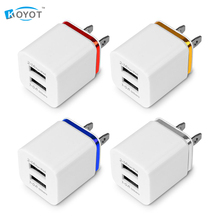 Dual USB Cell Mobile Phone Charger 5V2.1A/1A EU US Plug Wall Power Adapter for ipad iPhone Samsung HTC Cell Phones 2Ports(China)