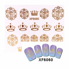FWC 2017 New Styles  3D Nail Stickers Beauty Gold Crown Designs Nail Art Charms Manicure Bronzing Decals Decorations Tools  6060