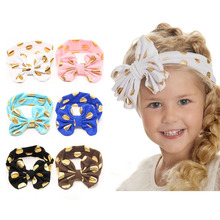 Headband Turband Baby Girl Headwrap Messy Bow Big Bow Toddler Head bands With Metallic Dot Fashion Jersey Knit Children Headwear