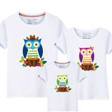 Children's Clothing New Fashion Family Clothes Combining Owl Style High Quality Summer Cartoon Casual Matching Outfits T-Shirts