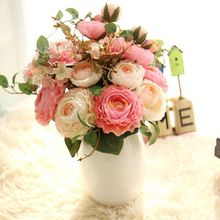 (9 heads/bunch) 2017 New.Silk / Simulation / Artificial flower Peony flower bouquet for wedding home decoration(China)
