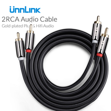 Unnlink 2RCA to 2 RCA Male to Male OFC Audio Cable Wrapped Shielding Gold Plated 0.5m 1m 2m 3m 5m 8m 10m For Amplifier Mixer(China)