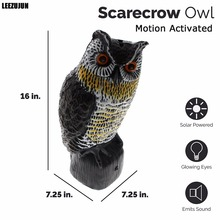 Solar Powered Scarecrow Owl - Large Realistic Owl - Motion Activated Flashing Eyes & Scary Sounds,Effective Bird, Rodent,Pest(China)