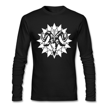 Softy Satanic Goat Head With Chao Star Full Sleeves Shirts Males Cotton Round Collar Long-Sleeves design t shirt