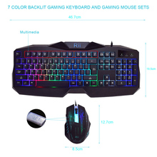 Rii RK400 Ergonomic Keyboard LED Illuminated Backlit USB Wired Professional Esport Gaming Keyboard and Mouse Combo Bundle Set(China)