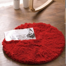 Anti-skid Round Shaggy Area Rug Soft Carpets Floor Mat for Living Room Bedroom Table (11 colors available, 80cm/120cm)