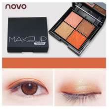 NOVO Infinite Charm 4 Colors Matte Glitter Eyeshadow Palette Professional Shimmer Cosmetic Makeup Smoky Shining Eye Shadow(China)