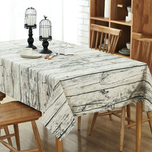 Retro Simulation Wood Striped Tablecloth Cotton Linen Fabric Grey Tableclothes Wedding Party Decoration Table Covers New 2017(China)