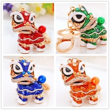 Lion Dance Keychain Chinese Traditional Stylish Cute Keyring Novelty Women Men Car Bags Purse Decor Hanging Pendant Gift(China)