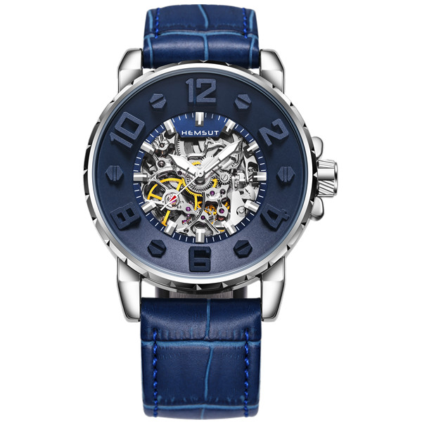 HEMSUT Mens Watches Top Brand Luxury Waterproof Transparent Automatic Watch Man Leather Sport Wrist Watch Men Blue Clock<br>