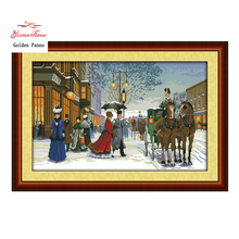 Golden Panno,Twilight in foreign country,counted printed on fabric DMC 14CT 11CT Cross Stitch kits,embroidery needlework 923(China)