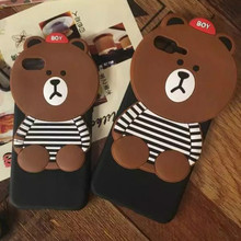 Cute Bear Silicone Mobile Phone Dress Cover Over Size Phone Cases for iphone 6 6S 7 Plus Good Looking Fashion Funda Back Shell