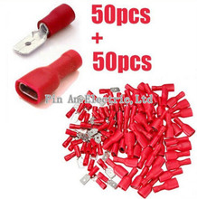 100x 6.3mm Red Female/Male Spade Insulated Electrical Crimp Terminal Connectors(China)