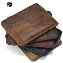 NEW Genuine Leather magic wallet Credit Cart Wallet mini slim wallet card & id holders man women business credit card holder(China)