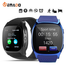 Lemado T8 Bluetooth Smart часы с Камера Facebook Whatsapp Поддержка sim-карта TF вызова Smartwatch для Android телефон PK Q18 DZ09(China)