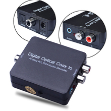 Digital Optical Coax T-oslink to Analog R/L RCA Audio Decoder Converter adapter for TV/PS3/Xbox 360/Blu-Ray player/HD DVD