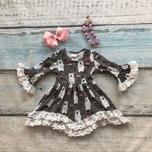 girls clothes baby kids Fall Winter lace dress girls boutique long Flare sleeve dress children bear dress with accessories(China)