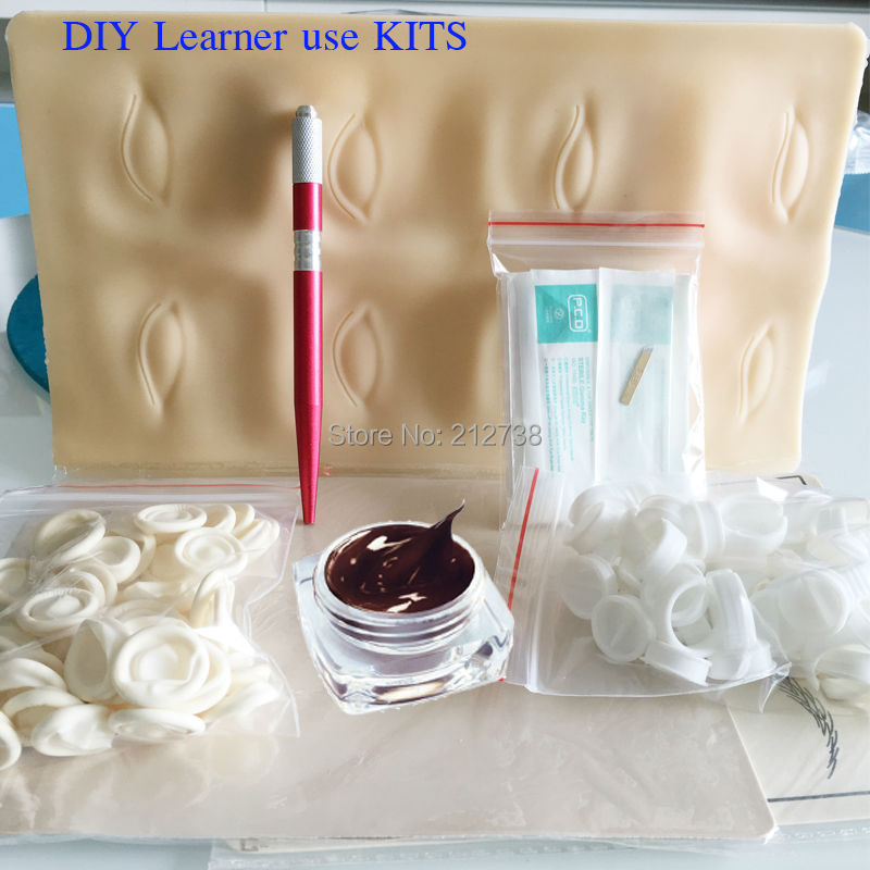 Free Shipping Microblading Pen KITS Manual pen eyebrow paste kits with 30pcs needle blade 5pcs practice skin For Learner use<br>