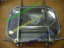 "530X430x75MM Square Manway, Stainless steel Sanitary 17""x21""Rectangular Manhole, 8mm Wall"