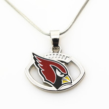 10pcs/lot Arizona Cardinals Football football sports necklace pendant Jewelry with snake chain(45+5cm) necklace jewelry(China)
