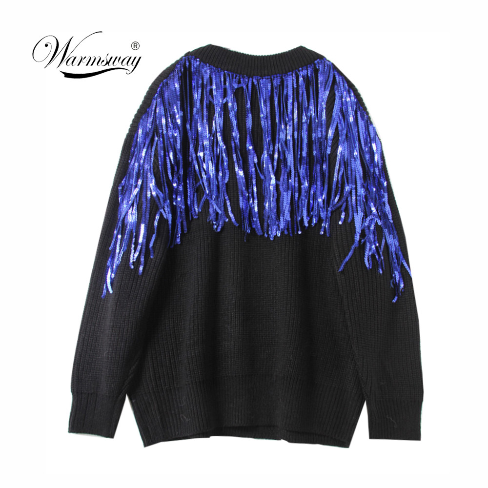 2018 Fall Winter sequin new sweater top fashion women clothing slim pullovers oversized big jumper C-426