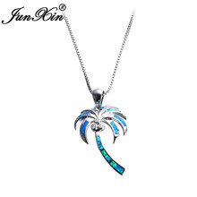 JUNXIN Unique Coconut Tree Blue Fire Opal Pendants & Necklaces For Women Fashion Jewelry 925 Sterling Silver Filled CZ Necklace(China)