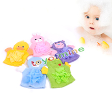 Cute Children Baby shower bathing bath towel Animals Style Shower Wash Cloth Towels Bath Gloves Cartoon children bath gloves(China)
