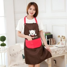 Cute teddy bear waterproof apron The kitchen antifouling oil adult protective clothing overall apron 78*69cm